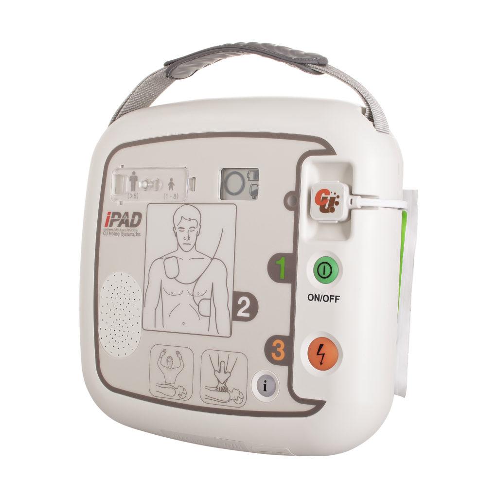 Seitenansicht eines AED für die Reanimation bei der Ersten Hilfe
